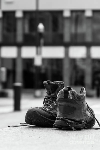 Wall Art - Photograph - Left Behind Shoes Grayscale by Jennifer White