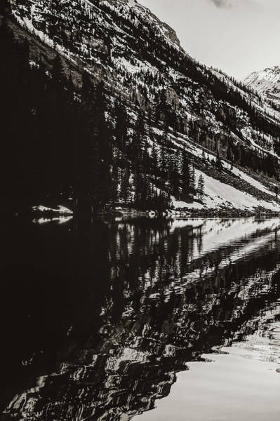 Photograph - Left Panel 1 Of 3 - Panoramic Maroon Bells Sepia Mountain Landscape by Gregory Ballos