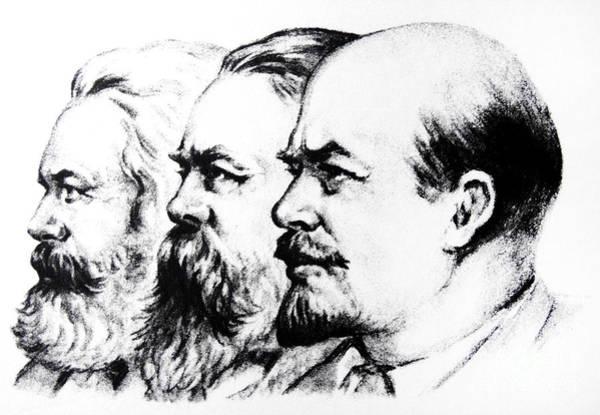 Trio Drawing - Left To Right Karl Marx Friedrich Engels Vladimir Lenin by Russian School