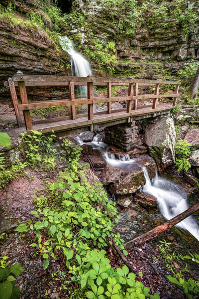 Photograph - Left Waterfall At Twin Falls - Devils Den State Park by Gregory Ballos