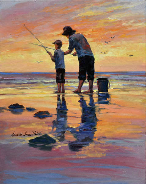 Wall Art - Painting - Legacy Lesson - Dad And Son Fishing by Laurie Snow Hein