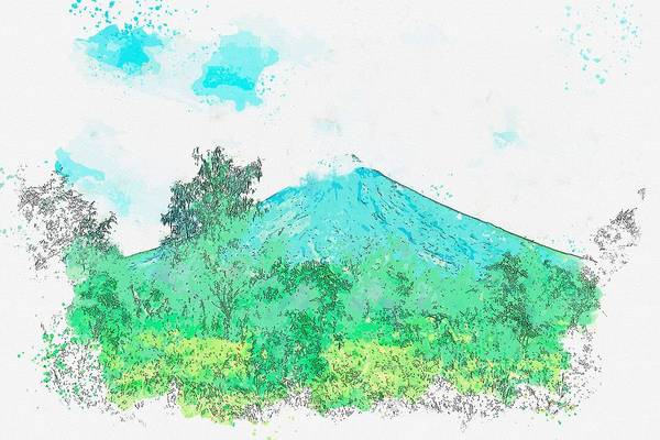 Painting - Legazpi City Mayon Scenic Sky Volcano Mountain  Philippines -  Watercolor By Ahmet Asar by Ahmet Asar