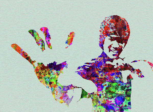 Wall Art - Mixed Media - Legendary Bruce Lee Watercolor by Naxart Studio