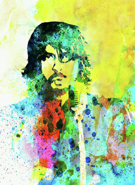 Dave Grohl Wall Art - Mixed Media - Legendary Foo Fighters Watercolor by Naxart Studio