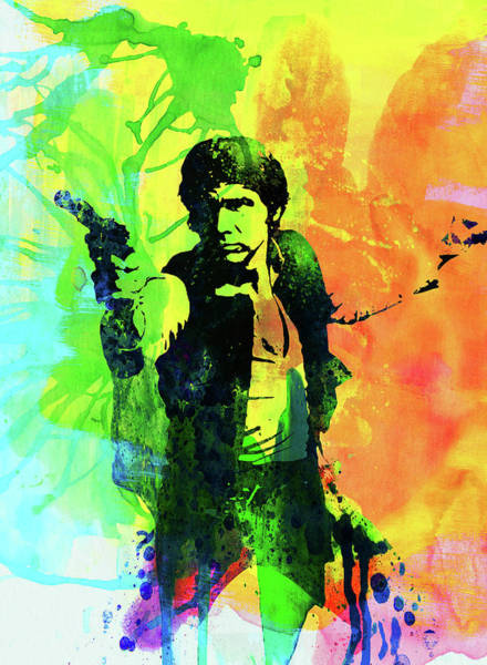 Wall Art - Mixed Media - Legendary Han Solo Watercolor by Naxart Studio