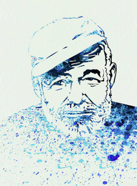 Famous Actor Wall Art - Mixed Media - Legendary Hemingway Watercolor by Naxart Studio