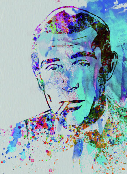 Wall Art - Mixed Media - Legendary Humphrey Bogart Watercolor by Naxart Studio