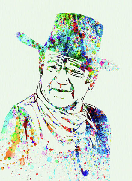 Wall Art - Mixed Media - Legendary John Wayne Watercolor by Naxart Studio