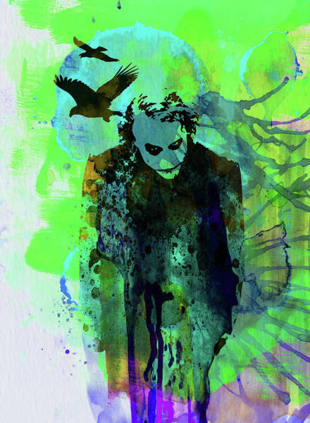 Wall Art - Mixed Media - Legendary Joker Watercolor by Naxart Studio