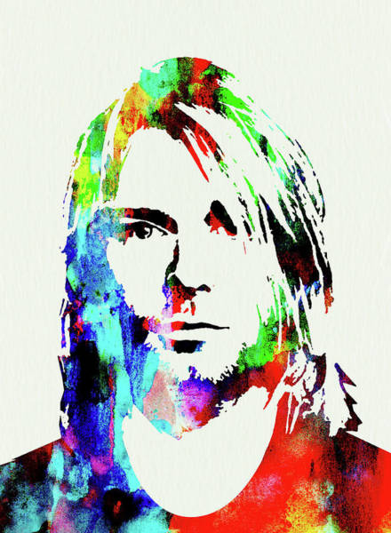 Wall Art - Mixed Media - Legendary Kurt Cobain Watercolor by Naxart Studio