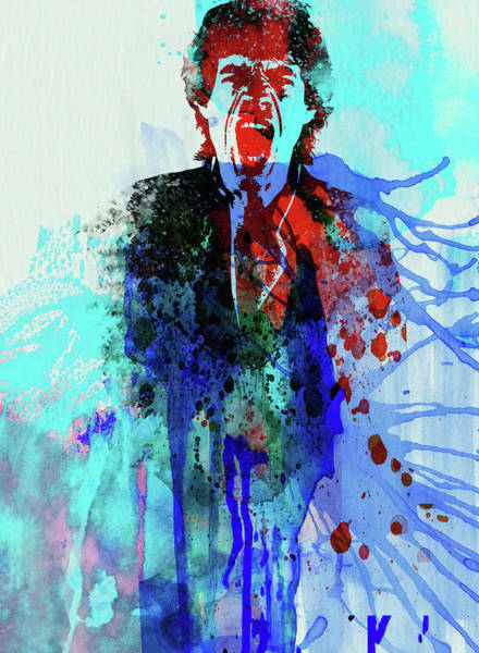 Wall Art - Mixed Media - Legendary Mick Jagger Watercolor by Naxart Studio
