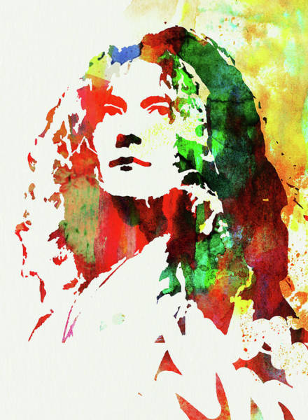 Wall Art - Mixed Media - Legendary Robert Plant Watercolor by Naxart Studio