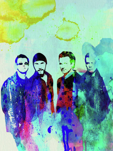 Wall Art - Mixed Media - Legendary U2 Watercolor by Naxart Studio