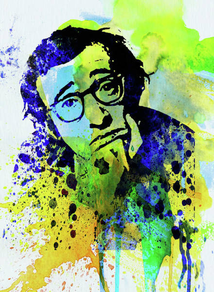 Wall Art - Mixed Media - Legendary Woody Allen Watercolor by Naxart Studio