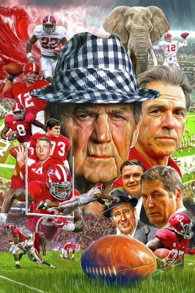 Wall Art - Mixed Media - Alabama Football Legends by Mark Spears