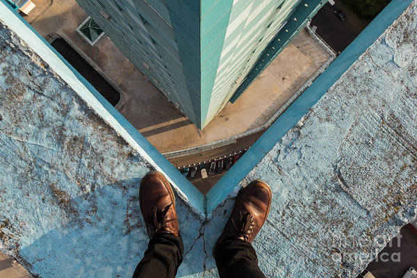 Wall Art - Photograph - Legs Of A Man Standing On The Edge by Alexander Voskresensky