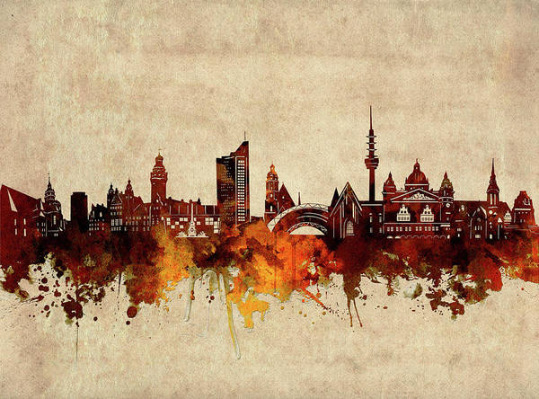 Wall Art - Digital Art - Leipzig Skyline Sepia by Bekim M