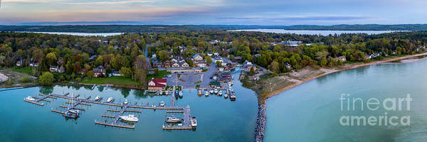 Wall Art - Photograph - Leland Harbor Evening Aerial Panorama by Twenty Two North Photography