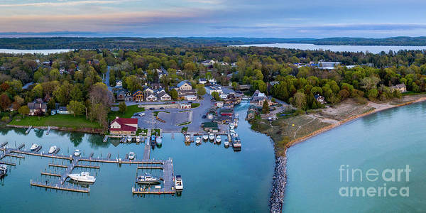 Wall Art - Photograph - Leland Harbor Evening Aerial by Twenty Two North Photography