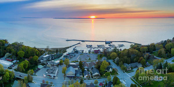 Wall Art - Photograph - Leland Harbor Sunset From Above by Twenty Two North Photography