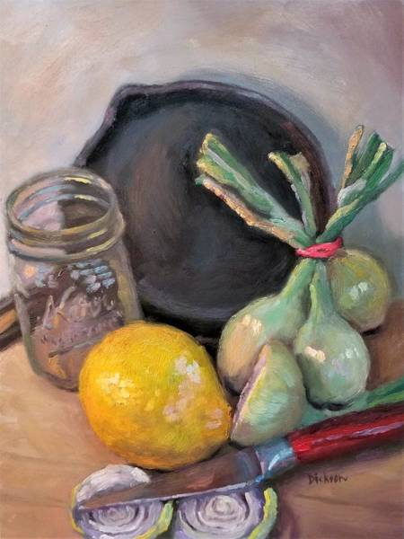 Painting - Lemon And Onions by Jeff Dickson