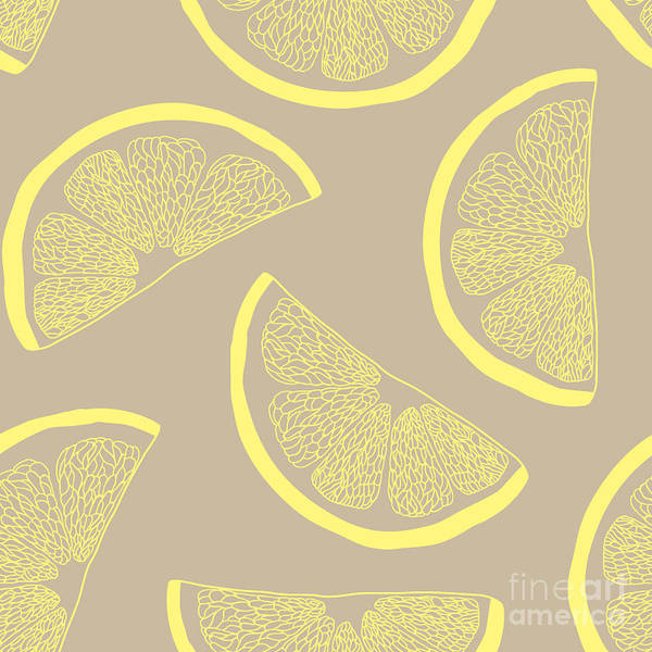 Wall Art - Digital Art - Lemon Seamless Pattern by Kseniia Romanova