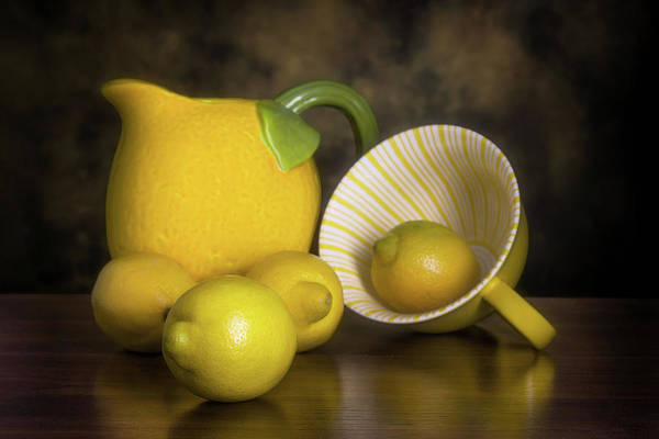 Wall Art - Photograph - Lemons With Lemon Shaped Pitcher by Tom Mc Nemar