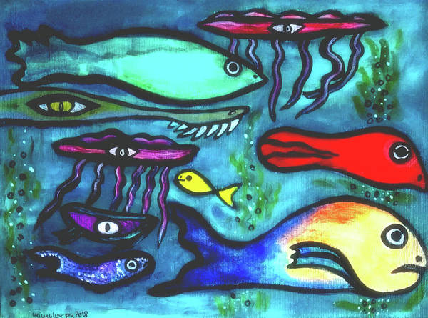 Painting - Leo Swims Against The Stream  Go Leo Go  by Mimulux patricia No