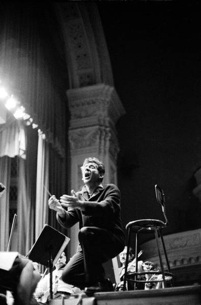 Music Hall Photograph - Leonard Bernstein Conducting Mahlers by Alfred Eisenstaedt