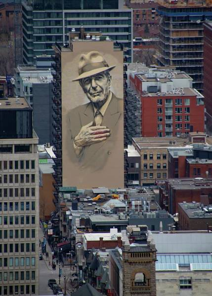 Montreal Digital Art - Leonard Cohen Mural Montreal by Marlin and Laura Hum