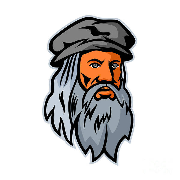 Wall Art - Digital Art -  Leonardo Da Vinci Head Mascot by Aloysius Patrimonio