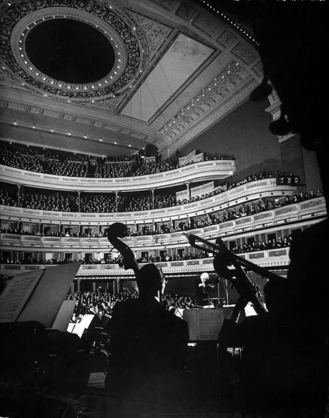 Music Hall Photograph - Leopold Stokowski Conducting The New by Gjon Mili