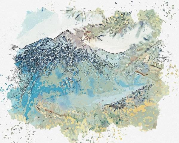 Painting - Les Deux Alpes, France Watercolor By Ahmet Asar by Ahmet Asar