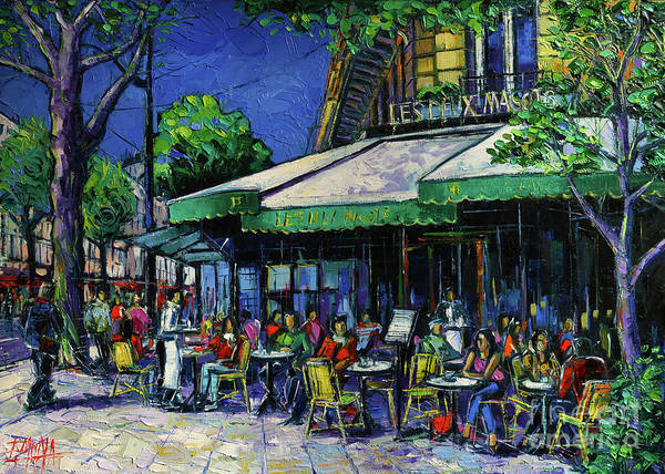 Urban Life Painting - Les Deux Magots Paris by Mona Edulesco