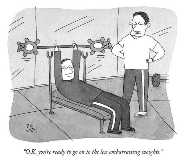 Drawing - Less Embarrassing Weights by Peter C Vey