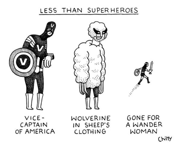 Drawing - Less Than Super by Tom Chitty