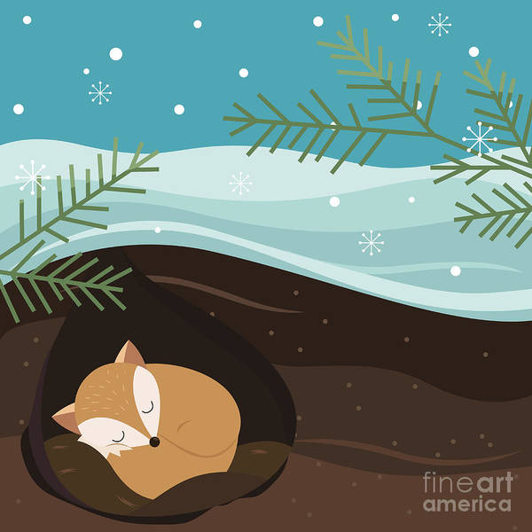 Hibernation Wall Art - Digital Art - Let It Snow. Fox Sleeping In A Hole by Teamarwen
