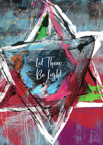 Jewish Art Wall Art - Mixed Media - Let There Be Light Expressionist Star- Art By Linda Woods by Linda Woods