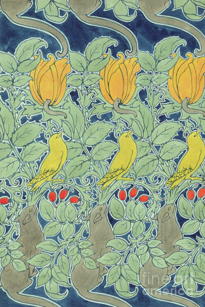 Canaries Painting - Let Us Prey Textile Design by Charles Francis Annesley Voysey