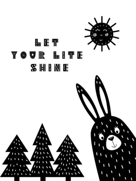 Wall Art - Painting - Let Your Lite Shine Scandinavian Minimalist Poster by Celestial Images