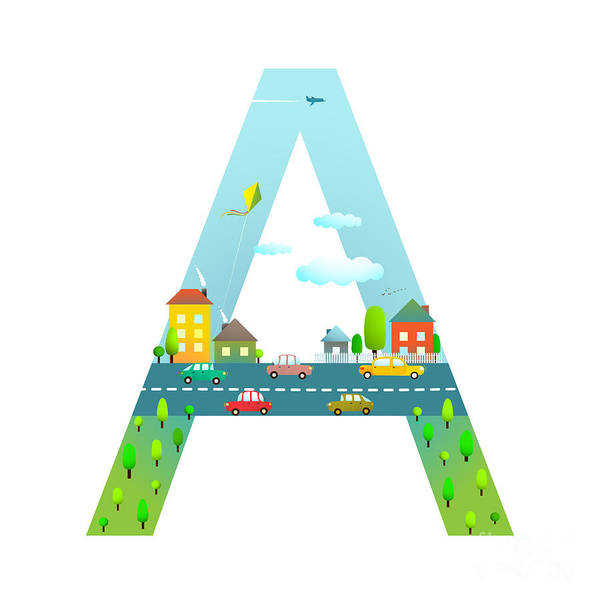 Cloud Type Wall Art - Digital Art - Letter A Of The Latin Alphabet For by Popmarleo