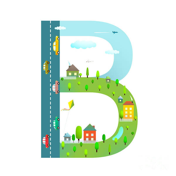 Cloud Type Wall Art - Digital Art - Letter B Of The Latin Alphabet For by Popmarleo