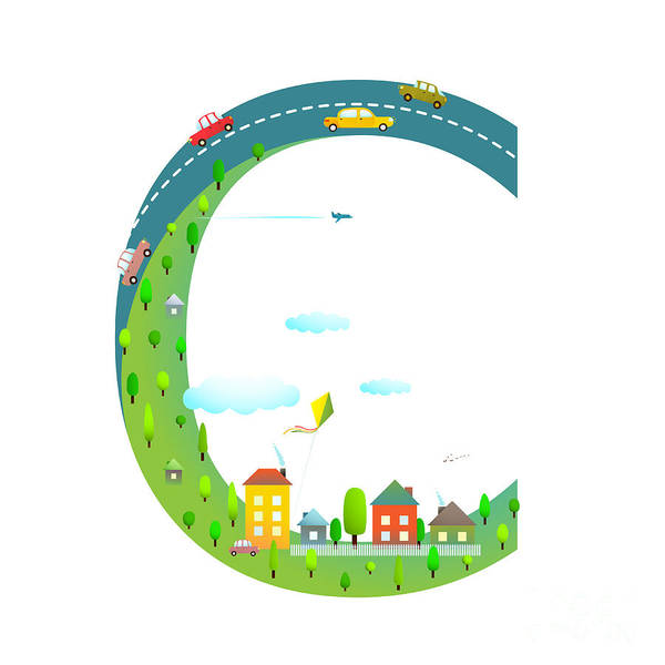 Cloud Type Wall Art - Digital Art - Letter C Of The Latin Alphabet Funny by Popmarleo