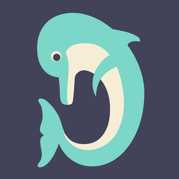 Digital Art - Letter D - Animal Alphabet - Dolphin Monogram by Jen Montgomery