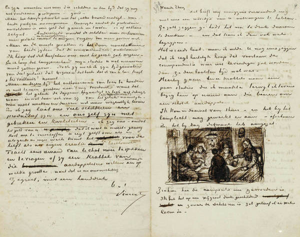 Potato Painting - Letter From Vincent Van Gogh To Theo Van Gogh With Sketch Of The Potato Eaters by Vincent Van Gogh