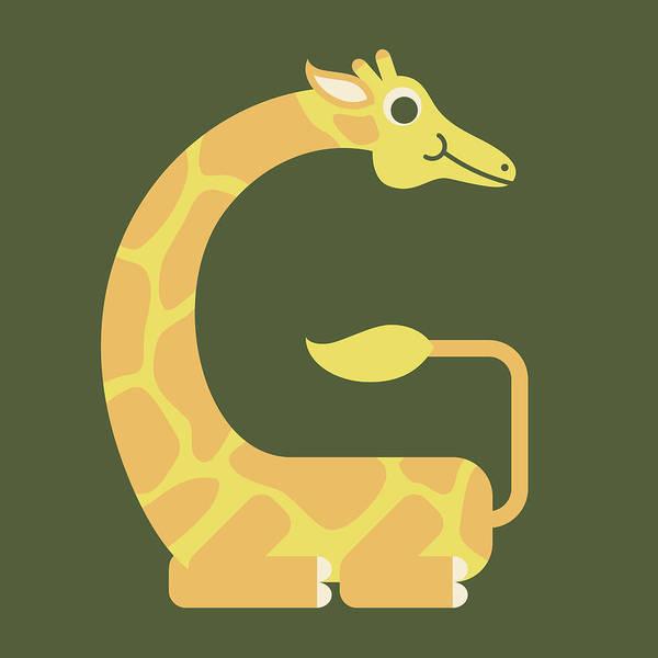 Digital Art - Letter G - Animal Alphabet - Giraffe Monogram by Jen Montgomery