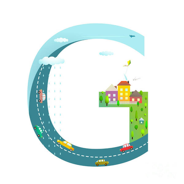 Cloud Type Wall Art - Digital Art - Letter G Of The Latin Alphabet Funny by Popmarleo