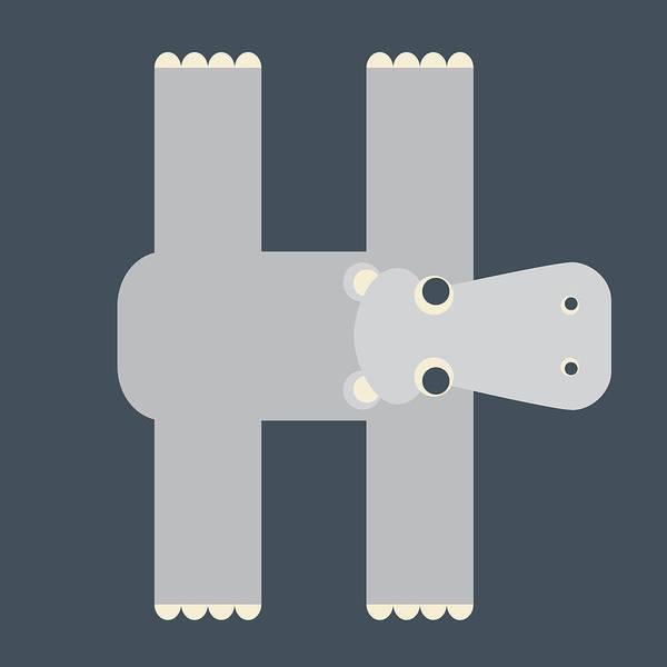 Digital Art - Animal Alphabet - Letter H - Hippo Monogram by Jen Montgomery