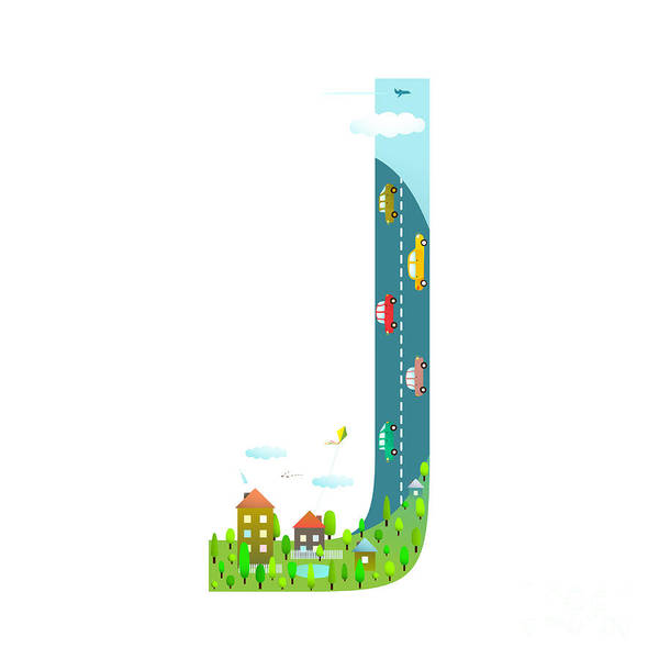 Cloud Type Wall Art - Digital Art - Letter J Cartoon Childish Alphabet With by Popmarleo