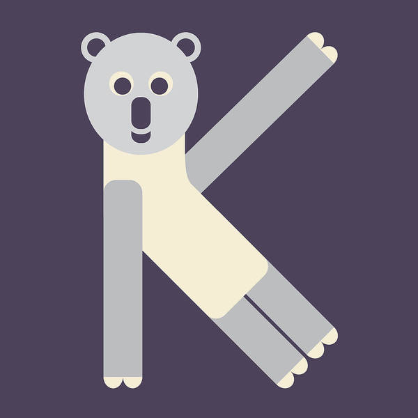 Digital Art - Letter K - Animal Alphabet - Koala Monogram by Jen Montgomery